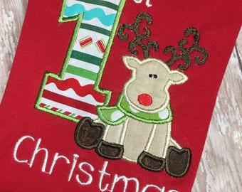 1st Christmas Romper - Baby's 1st Christmas - Ruffle Romper - Reindeer Romper - Reindeer Outfit - Girls Christmas - Boys Christmas -