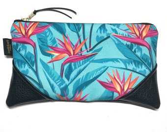 Large Bold Turquoise Bird of Paradise x Black Zipper Pouch / Clutch with inside lining and Suede Zipper Pull or Leather Wristlet Strap