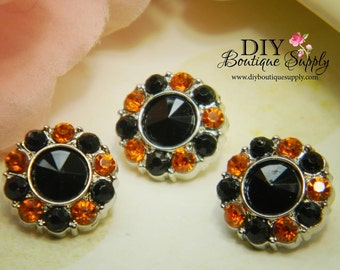 10 pcs Rhinestone Buttons BLACK & ORANGE Acrylic -HALLOWEEN Rhinestone Embellishments - Flower centers Headband Supplies 15mm 213431