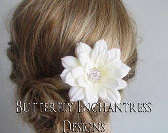 Bridal Hair Flower, Wedding Hair Accessory, Bridal Headpiece, Fascinator - Ivory Mini Autumn Dahlia Hair Flower - Rhinestone