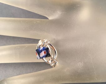 Silver Ring with Multi Colored Blue Stone, Wire Wrapped One of a Kind Ring, U.S. Ring Size 9.25 Previously 15 Dollars ON SALE