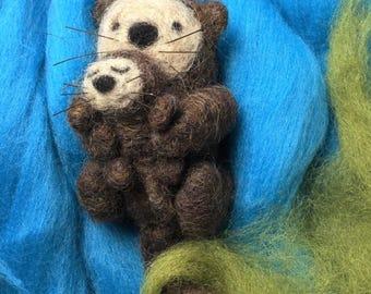 Needle Felted Otter Baby & Mama
