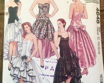 1990 McCall's Pattern-4648-Misses Formal Dress-Prom-Size 10-12-Petite-able. Strapless-Princess-Gathered-Ruffled Asymmetrical Rumba Skirt.