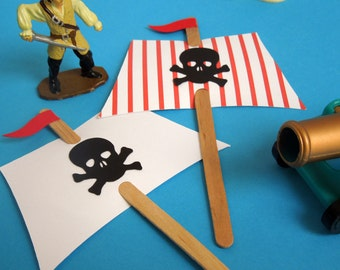 Pirate Sails Birthday Party Cupcake Toppers (set of 12)