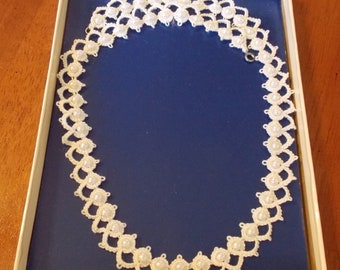 Hand made hand tatted white necklace with white faux pearl 20 inch
