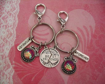 Two Best Friends Forever Keychains Purse Charms Fuchsia Mermaid Scales Cabochon Jewelry Accessory Gift
