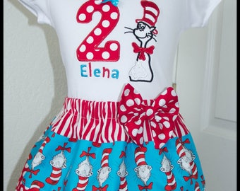New Super Cute Cat in the Hat Dr Seuss  Birthday Skirt outfit Name and age included