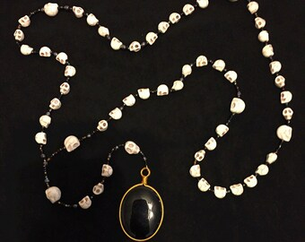 Gothic Skull Bead and Onyx Necklace