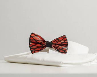Bow tie fabric and hand painted resin made in Italy