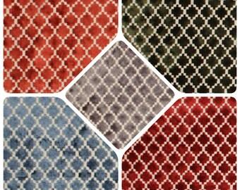 Petite Diamond Velvet Upholstery Fabric Navy Blue Olive Green Gray Rusty Orange Red Cream Small Scale Modern Geometric Trellis Pattern IL7