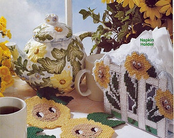 Sunny Flowers Plastic Canvas Patterns / Cut From A Vintage Magazine / Leisure Arts