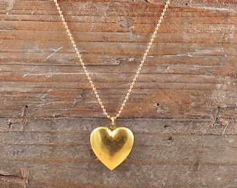 Gold Heart Locket Necklace, Heart Necklace, Photo Locket, Gift for Her, Mothers Day Gift, Locket Pendant