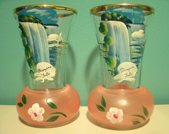 Hand Painted Niagara Falls Souvenir Glass Vases Set of 2 Gold Trim Vintage