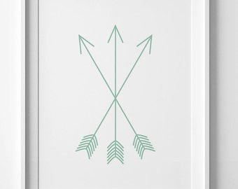 Arrow art, green arrow, wall art print, mint nursery print, wall art printable, green digital print, mint arrows print, mint green wall art