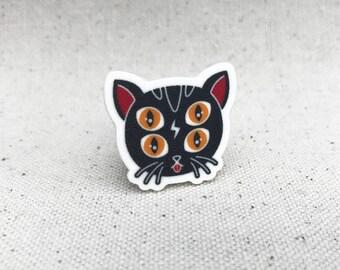 Creep Cat 4 Eye Kitten // Brooch Pinback Lapel