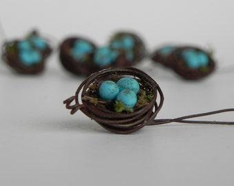 Miniature Bird Nest for fairy garden terrarium or dollhouse with miniature robin's eggs ONE, handcrafted accessories