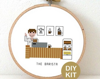 Cross Stitch Kit Barista. Gift for Coffee lover. DIY New job gift. Embroidery kit including hoop.
