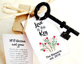 50 Key Wedding Favors - Vintage Skeleton Keys Flower Seed Paper Keys Love is the Key Wedding Cards