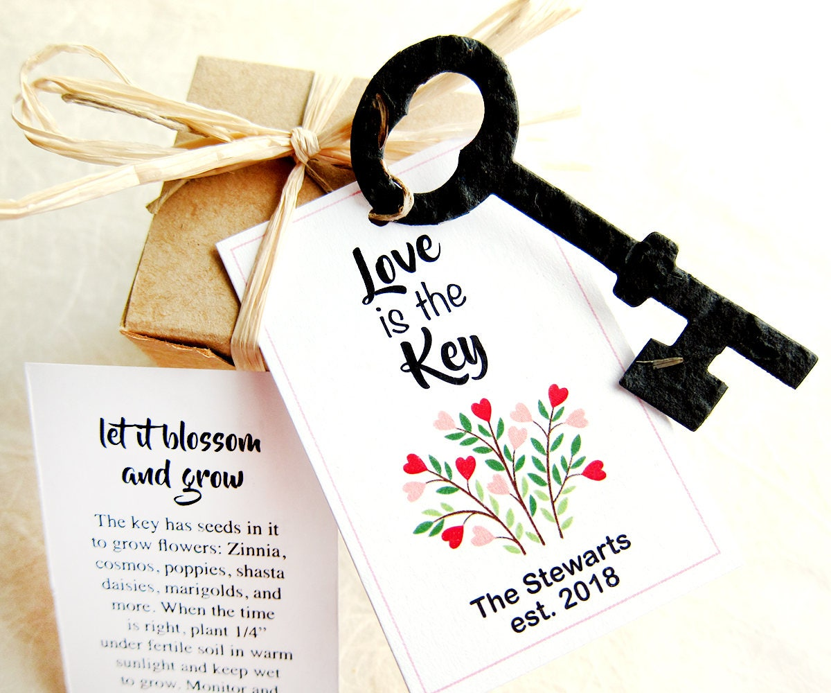 50 Key Wedding Favors Vintage Skeleton Keys Flower Seed