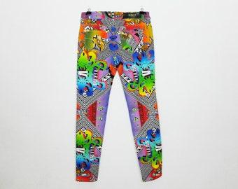RARE Vintage Versus Versace Rainbow Print Slim Jeans Size 28 Pants