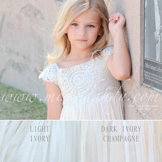 Ivory flower Girl Dress, Crochet Girls Dress, Ivory Lace Crochet Flower Girl Dress, Rustic Champagne Cream Boho Bohemian Flower girl Dress