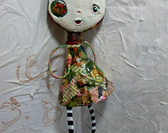 Art Doll OOAK Original - Paper Clay/ Mixed Media One of a kind Whimsical Wall Art/ Gift/ Original Handmade