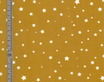 Stardust white mustard yellow coated cotton fabric coupon - 25X35cm