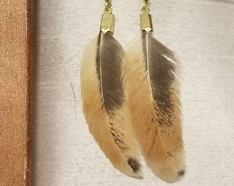 Tan and brown feather earrings