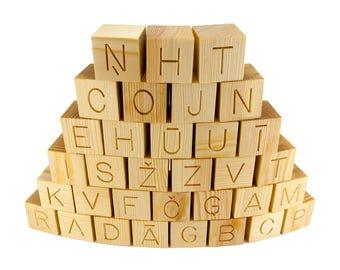 33 Natural Handmade Wooden Latvian Alphabet Toy Building Blocks, Christmas Gift Idea, ABC Wood Building Blocks, wooden blocks