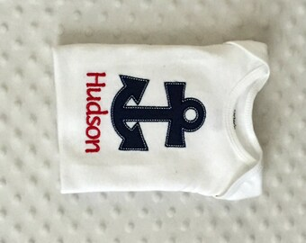 Baby Boy  Personalized Bodysuit , Appliqued Anchor  Nautical Theme