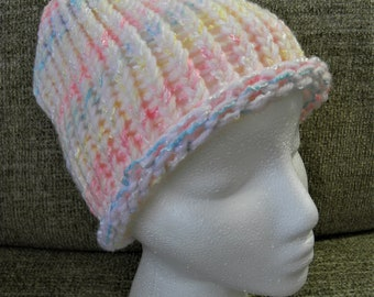 White, Pink, Blue, and Yellow Shimmery Child's Knit Hat