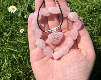 "Rose Quartz necklace & Tumblestone bracelet - 18"" cord necklace"