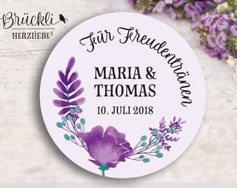"""24 Personalized/individual sticker/Sticker/labels, wedding """"Tears of Joy""""/Hochzeitsdeko/wedding Party/Guest Gift"""