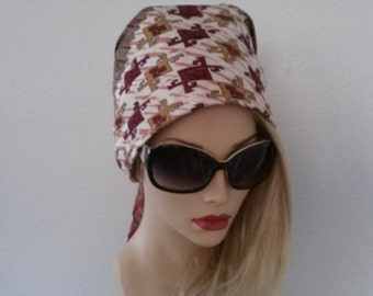 60's inspired scarf hat with padded crown.