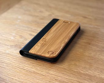 OXSY Bamboo & Black Leather Wood iPhone Case | Samsung S8 / iPhone 6/7/8/ Folio Case / iPhone 6/7/8/X Flip Case | iPhone 6/7/8/X Bamboo Case