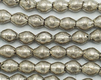 100 Silver Handmade Bicone Ethiopian Beads (6mm) - Recycled Hand-forged African Beads - Upcycle Beads -Tribal Trade Beads (104-ETH-MET)