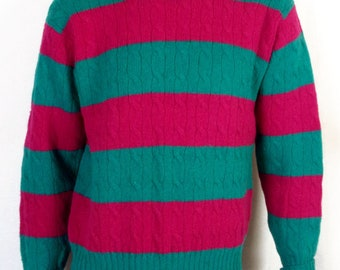 vtg 92 93 Polo Ralph Lauren Green Pink Colorblock Wool Sweater cable knit crew M