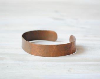 Vintage Copper Cuff Bracelet, Hammered Copper Bracelet