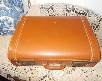 Luggage, Vintage Luggage Rd front Suitcase Camel, Vintage Suit Case, Vintage Luggage, Vintage Home Decor, Storage, Wedding, Dog Bed,  :)s