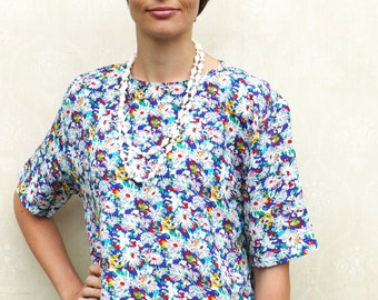 "Vintage floral top, open size - bright colours . . . ""Like"" our fb page for 10% discount"