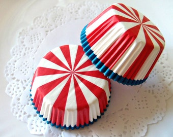 White, Red and Blue Radiate Cupcake Liners (50)
