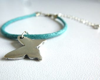 Turquoise blue polished cotton with silver Butterfly charm bracelet