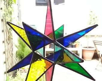 Coloured glass 3D  12 sided star light catcher