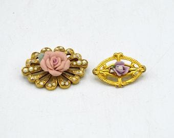 Lot of 2 Vintage Enamel Flower Brooch Pins