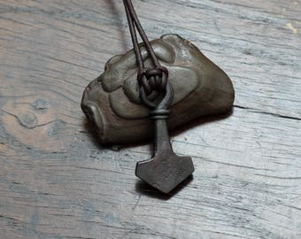 Small Hand Forged Pure Iron Mjolnir pendant