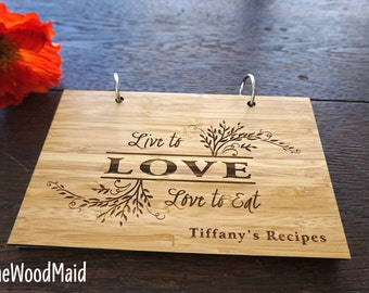 Blank Recipe Book Or Lined Personalized cookbook Custom Note and Recipes Kitchen Journal Gourmet Mother's Day Gift Live to Love to Eat
