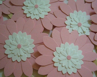 Flower Cupcake Toppers - Pink and White Daisies - Girl Baby Shower Decorations - Bridal Shower Decorations - Girl Birthday Party Decorations