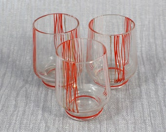Set of 3 Small Shot Glasses Screen Printed in White and Orange 1960s Drinking Glasses