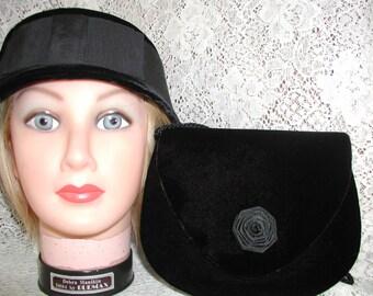 Black Velvet Hat and Black Velvet Purse...Vintage Hat and Purse