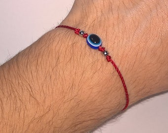 red string good luck bracelet, evil eye protection wristband, new, adjustable